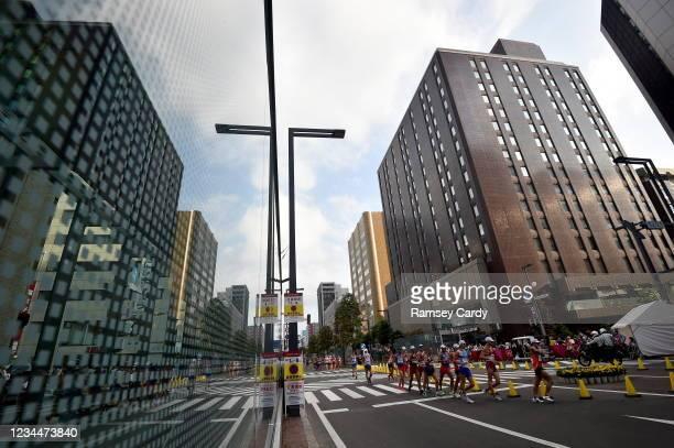 Hokkaido , Japan - 5 August 2021; Toshikazu Yamanishi of Japan, right, leads the men's 20 kilometre walk final at Sapporo Odori Park on day 13 during...
