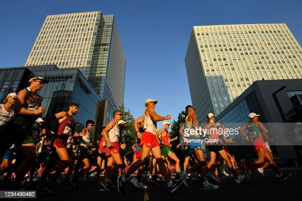 Hokkaido , Japan - 6 August 2021; A general view of the men's 50 kilometre walk final at Sapporo Odori Park on day 14 during the 2020 Tokyo Summer...