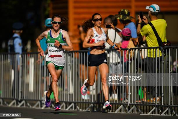 Hokkaido , Japan - 7 August 2021; Fionnuala McCormack of Ireland, left, and Jess Piasecki of Great Britain in action during the women's marathon at...