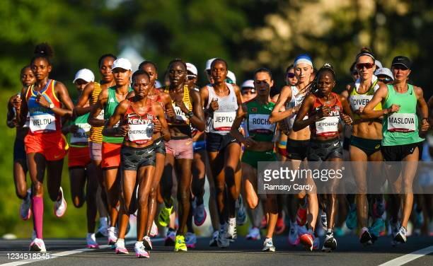 Hokkaido , Japan - 7 August 2021; Runners, including Nazret Weldu of Eritrea, Ruth Chepngetich of Kenya, Peres Jepchirchir of Kenya, and Darya...