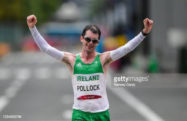 Hokkaido , Japan - 8 August 2021; Paul Pollock of Ireland celebrates crossing the finish line in 71st place during the men's marathon at Sapporo...