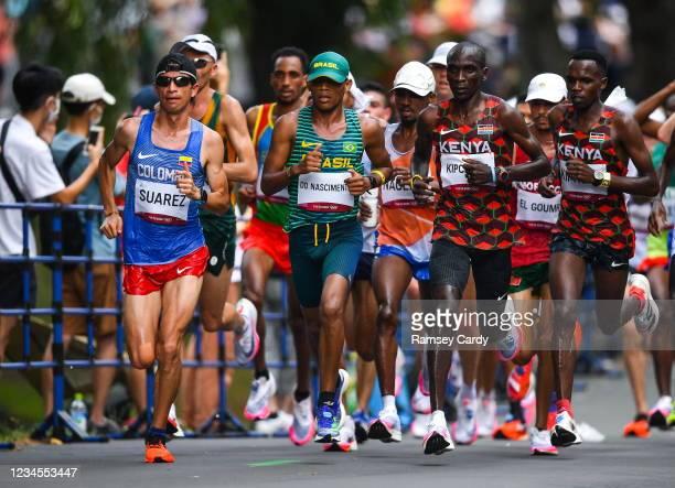 Hokkaido , Japan - 8 August 2021; The lead group including Jeison Alexander Suarez of Colombia, Daniel Do Nascimento of Brazil, Eliud Kipchoge of...