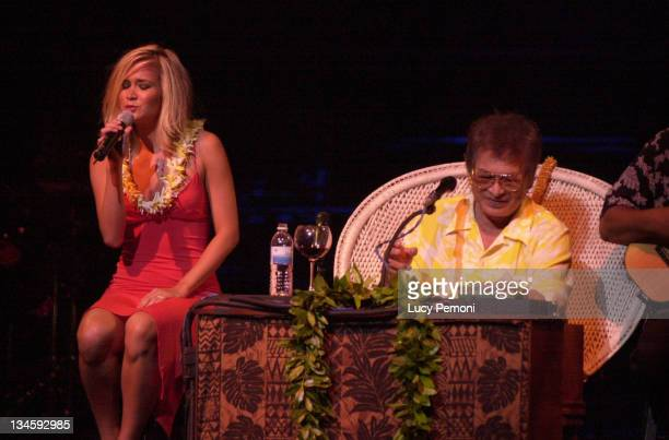 Hoku performs with her father Don Ho during Don Ho and Daughter Hoku at Hawaii Theater Gala April 25 2004 at Hawaii Theater in Honolulu Hawaii United...