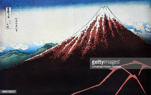 """Hokusai Shower Below the Summit , from the series """"Thirty-Six Views of Mount Fuji """", c. 1830–33"""