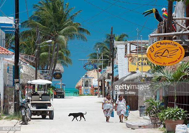 holbox island street scene with women, and dog - isla holbox fotografías e imágenes de stock