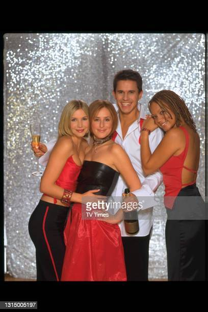 Holby City actors and actresses: Lisa Faulkner, Angela Griffin, Jeremy Edward and Nicola Stephenson in evening wear, circa 1999.