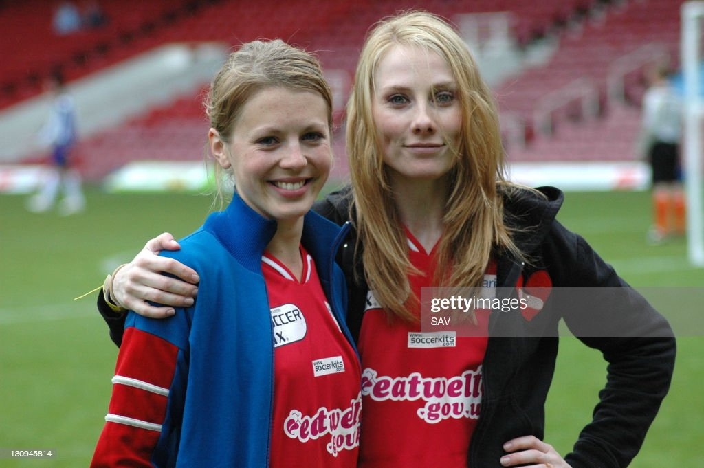 Holby City girls pose for the camera during Celebrity World Cup Soccer Six Match at West Ham United Football Club in London, Great Britain.