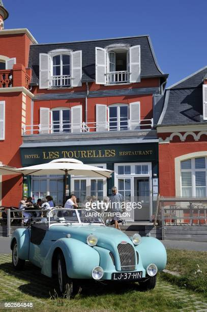 A hold Burton car in front of Les Tourelles hotel near the beach of Le Crotoy Baie de Somme and Cote d'Opale area Somme department Picardie region...