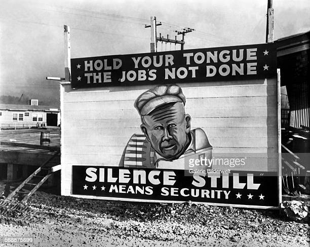 """""""Hold your tongue the job is not done"""" 1943 Hawley Plant Security Poster Sister Manhattan Project site billboard Similar security signs were also..."""