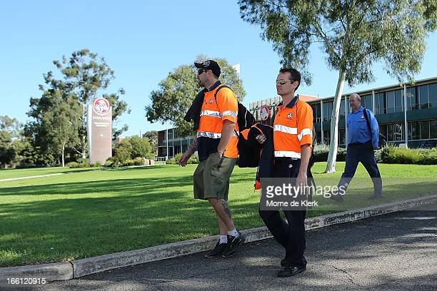 Holden employees leave work at the end of their shift at the Holden plant in Elizabeth on April 9 2013 in Adelaide Australia Holden announced plans...