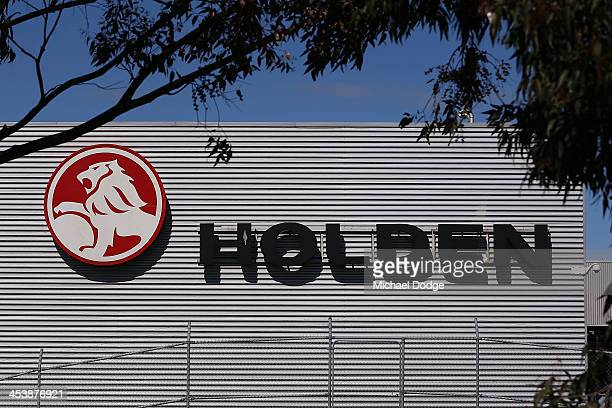 Holden logo is seen at its Holden headquarters in Port Melbourne on December 6 2013 in Melbourne Australia Reports suggest Holden GM will close its...