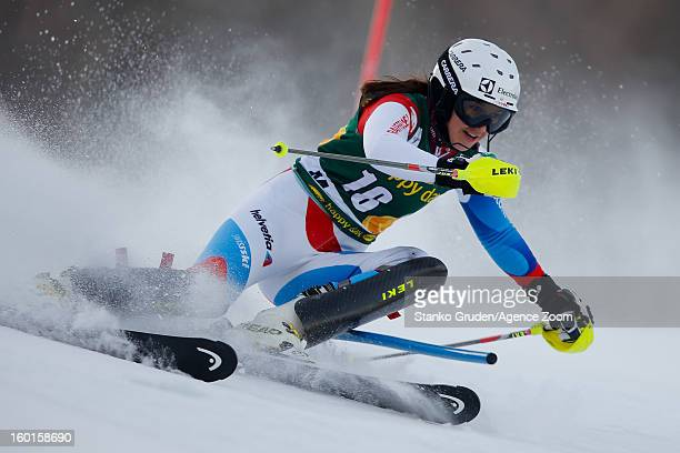 Holdener Wendy of Switzerland competes during the Audi FIS Alpine Ski World Cup Women's Slalom on January 27 2013 in Maribor Slovenia