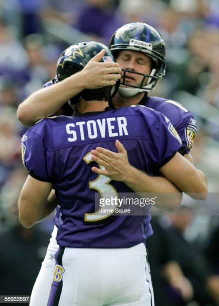 Holder Dave Zastudil of the Baltimore Ravens congratulates kicker Matt Stover after Stover made a field goal against the Cleveland Browns during the...