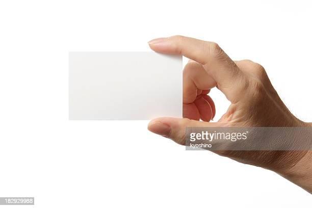 Cartão em branco na mão de homem contra fundo branco