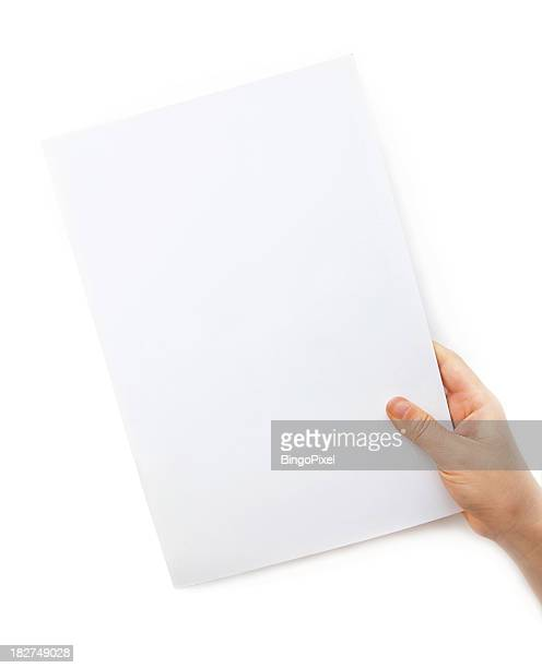 Holding a Blank White document