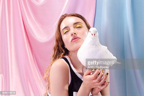 Holding a dove