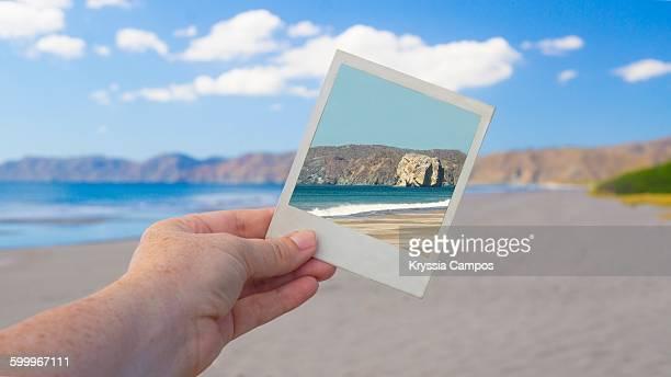 holding a photo over a photo - parque nacional de santa rosa fotografías e imágenes de stock