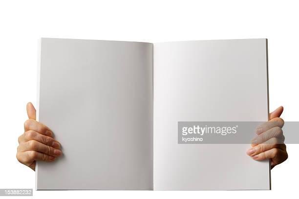 Tenant vide Livre blanc sur fond blanc