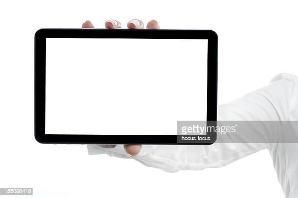 Holding und digitale tablet zeigen