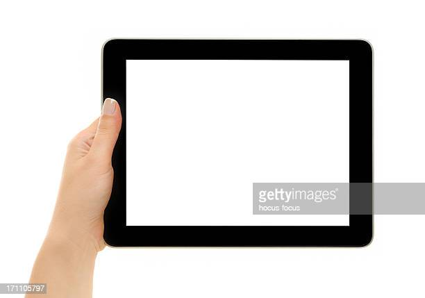 Holding blank white screen tablet pc