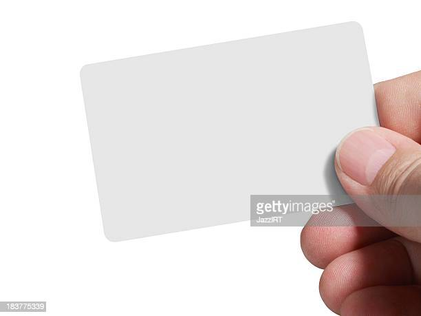 Holding empty card isolated with clipping path over white background)