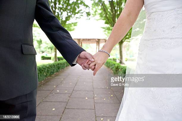 holding hands - married stock photos and pictures