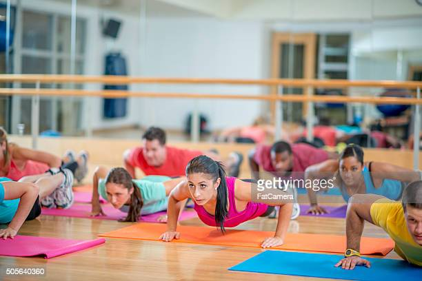 Holding Plank Position at the Gym