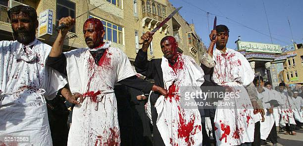 Holding up their swords Shiite Muslim pilgrims hits his head with the blunt edge as they take part in self flagellation during lamentation ceremonies...
