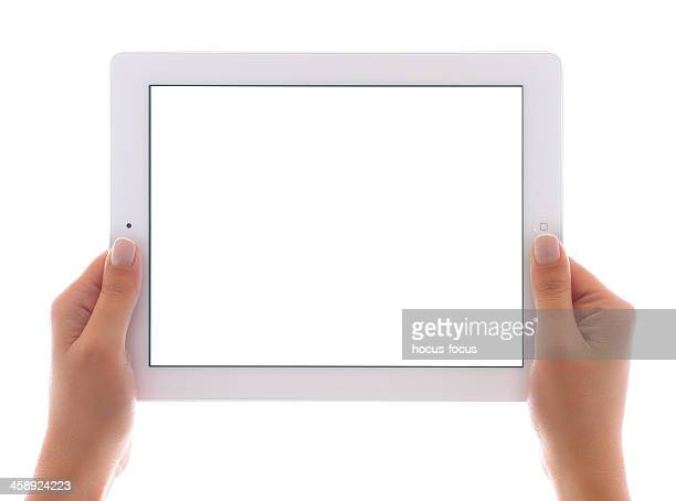 holding white screen ipad 3 - camera icon stock pictures, royalty-free photos & images