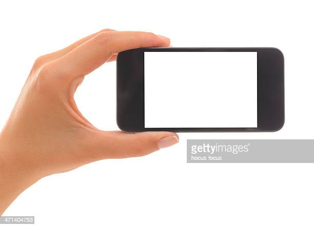 Holding white screen smart phone