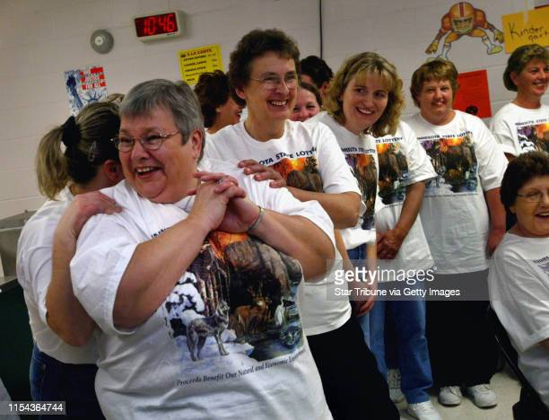 10/28/03 Holdingford MN The Lunch Ladies who won the Powerball meet with the press and then go back to work IN THIS PHOTO Addressing the press...