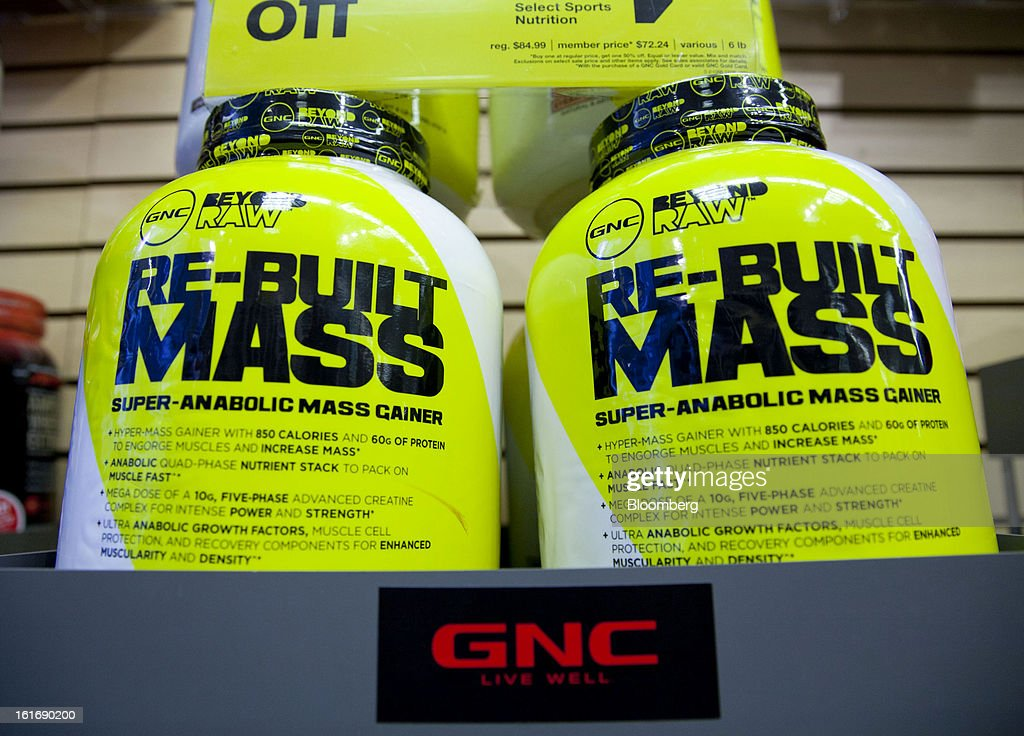 GNC Holdings Inc. weight gaining powder is displayed for sale at a store in New York, U.S., on Thursday, Feb. 14, 2013. GNC Holdings Inc., a retailer of health and wellness products, reported revenue increases of 10.9% in the fourth quarter and 17.3% for the full year. Photographer: Jin Lee/Bloomberg via Getty Images