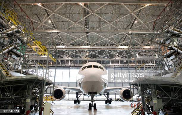 Holdings Inc's Boeing Co 777 aircraft is seen during the welcome ceremony held for the company's newly hired employees at a hanger on April 1 2017 in...