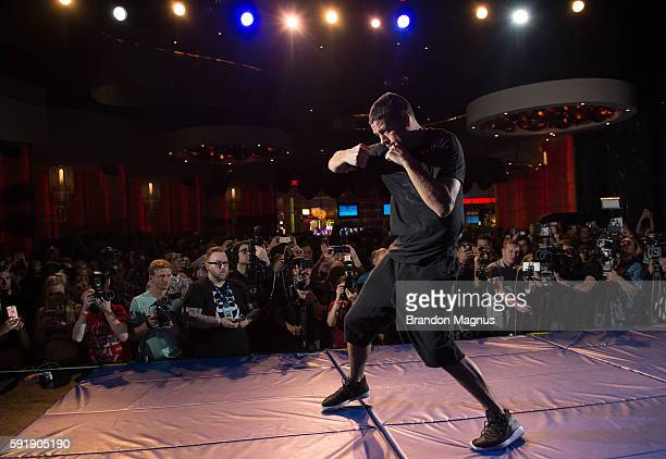 holds an open workout for media and fans during the UFC 202 Open Workouts at the Red Rock Casino Resort on August 18 2016 in Las Vegas Nevada