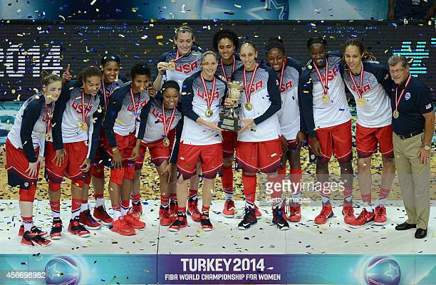 USA holds up the trophy after winning their 2014 FIBA Women's World Championships at the final basketball match between Spain and USA at Fenerbahce...
