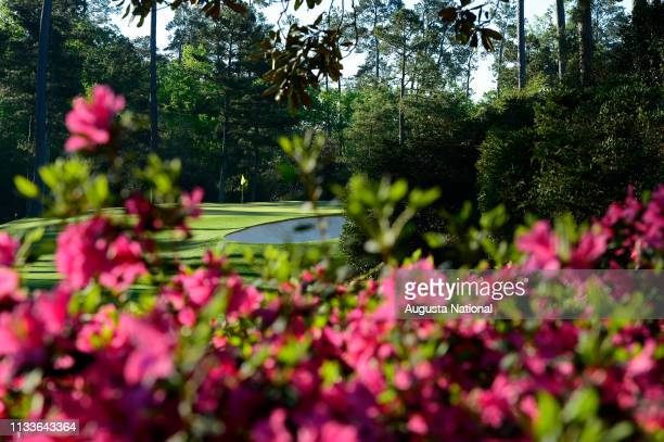 Hole 10 is surrounded by blooming azaleas during Practice Round 1 at Augusta National Golf Club on Monday April 4 2016