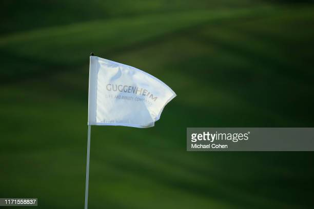 A hole flag is seen during the second round of the Indy Women In Tech Championship Driven by Group 1001 held at the Brickyard Crossing Golf Club on...