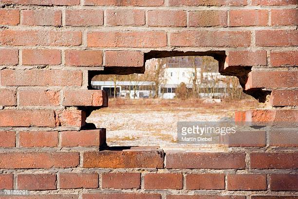A hole in a brick wall