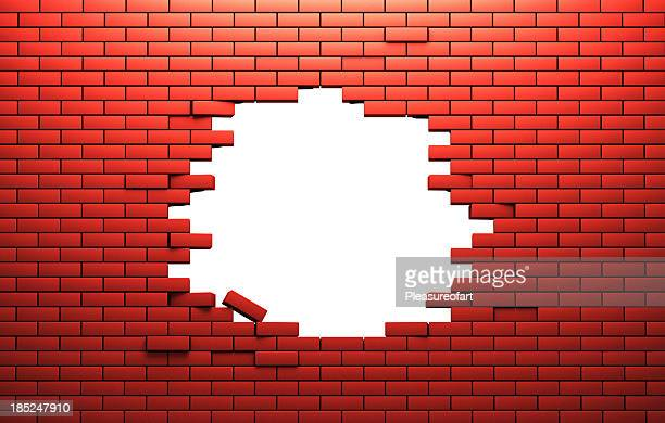 hole in a brik wall - hole stock pictures, royalty-free photos & images