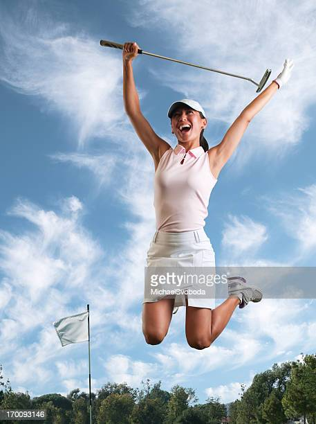 hole in one celebration - women's golf stock pictures, royalty-free photos & images