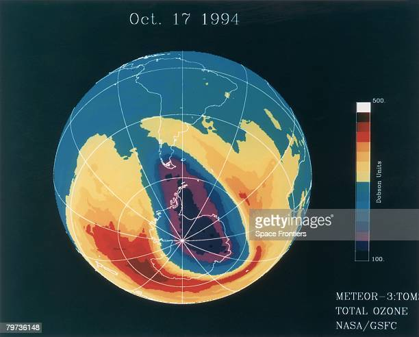 A hole in the ozone layer above the tip of South America as measured by the Total Ozone Mapping Spectrometer on board Russia's Meteor3 17th October...