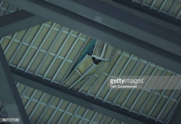 A hole in the roof of the Rogers Centre after falling ice from the CN Tower caused the postponement of tonightâs MLB game between the Toronto Blue...