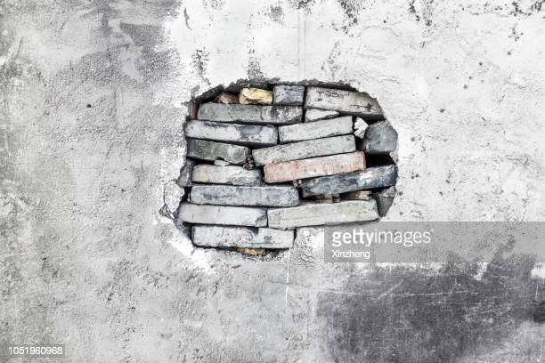 hole in the wall - degeneration stock photos and pictures