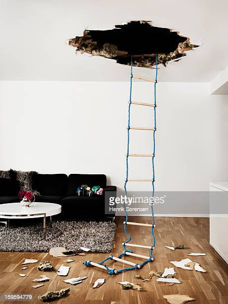 hole in the wall - ceiling stock pictures, royalty-free photos & images