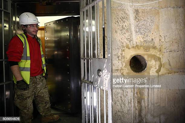Hole is re-drilled in the wall used by burglars to access the underground vault of the Hatton Garden Safe Deposit Company which was raided in what...