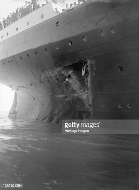 Hole torn in the hull of 'RMS Olympic' after the collision with 'HMS Hawke' in the Solent 20th September 1911 The collision took place as Olympic and...