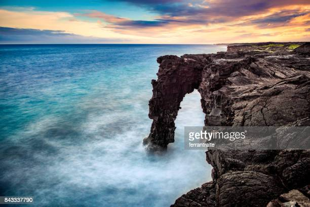 holei sea arch hawaii - arch stock pictures, royalty-free photos & images