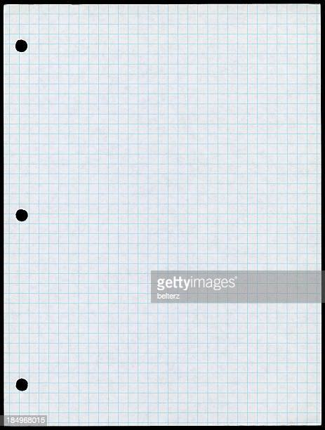 holepunched white paper with blue graph lines - lined paper stock photos and pictures