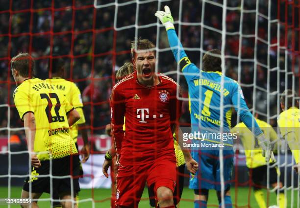 Holger Badstuber of Bayern shouts in anger after loosing the Bundesliga match between FC Bayern Muenchen and Borussia Dortmund at Allianz Arena on...