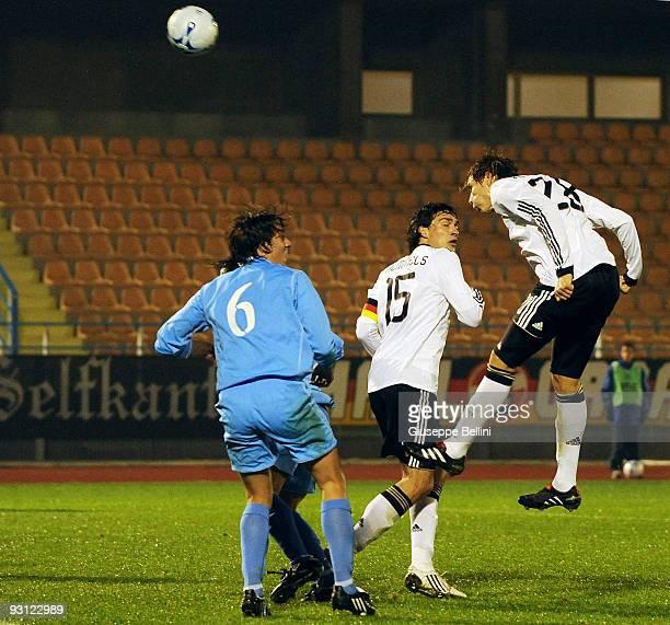 Holger Badstuber of Germany scores a goal during the UEFA U21 Championship match between San Marino and Germany at Olimpico stadium on November 17,...